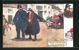 Künstler-AK L. Thackeray: Motor Car for Sale, Owing to Liquidation, Polizist begleitet einen Herrn auf der Strasse