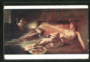 Künstler-AK Franciszek Zmurko: Faust`s Erscheinung