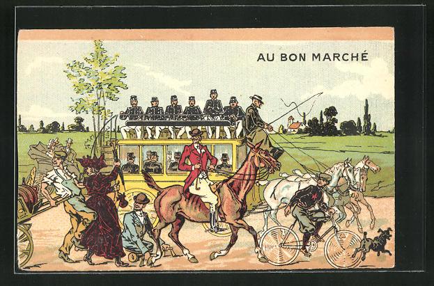 AK Au Bon Marche, Soldaten in Uniform auf einem Wagen, Radfahrer u. Behinderter