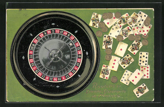 Präge-AK Monaco, Roulette und Kartenspiel mit Münzen