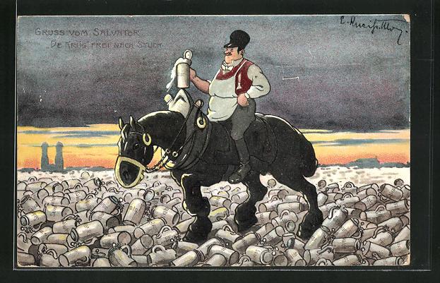 AK Guss vom Salvator, De Krüg, Frei nach Stuck, Mann mit Bierkrug auf seinem Pferd