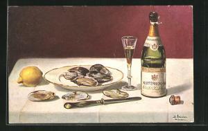 Künstler-AK Beatrice Mallet: Stillleben mit Muscheln und Champagner auf dem Tisch