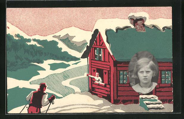 Foto-Collage-AK Ski-Fahrer an einer Hütte, Portrait eines Mädchen's