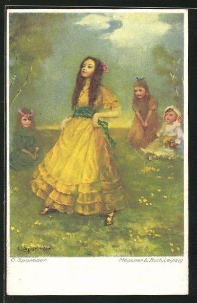 Künstler-AK C. Sporleder: Mädchen im Kleid auf einer Wiese