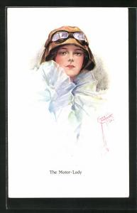 Künstler-AK Court Barber: The Motor-Lady