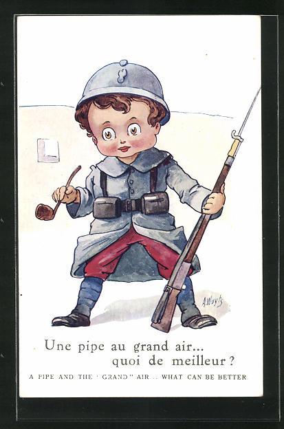 Künstler-AK A. Wuyts: Une pipe au grand air.... quoi de meilleur? Kindersoldat mit Gewehr