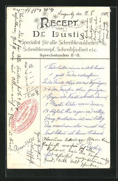 AK Recept Dr.Lustig, Specialist für alle Schreibkrankheiten