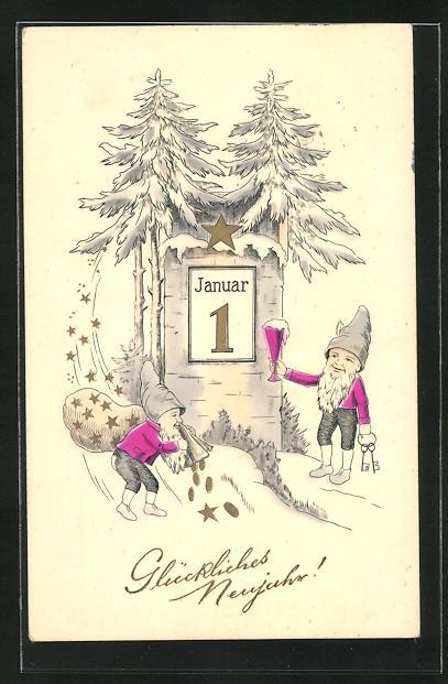 AK Zwerg erhebt sein Glas, Kalenderblatt 1. Januar