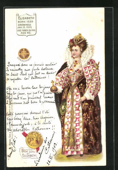 Lithographie Elizabeth Königin von England