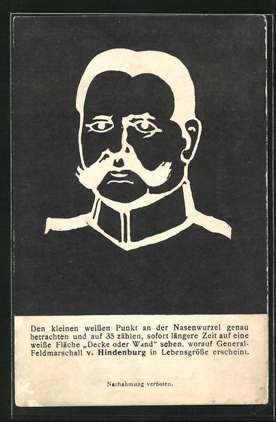 AK Paul von Hindenburg, optische Täuschung