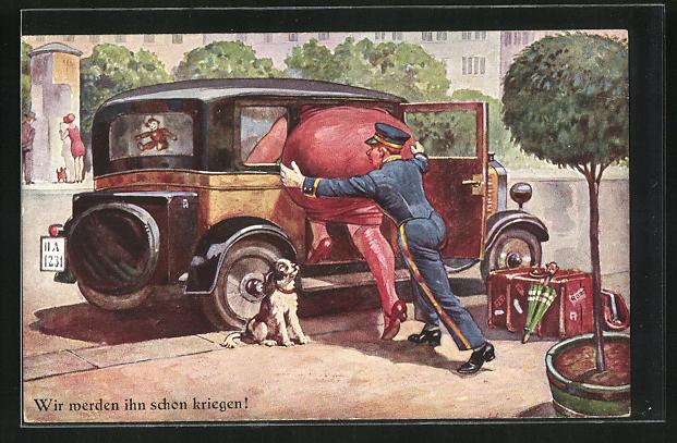 AK Page hilft der übergewichtigen Dame ins Auto