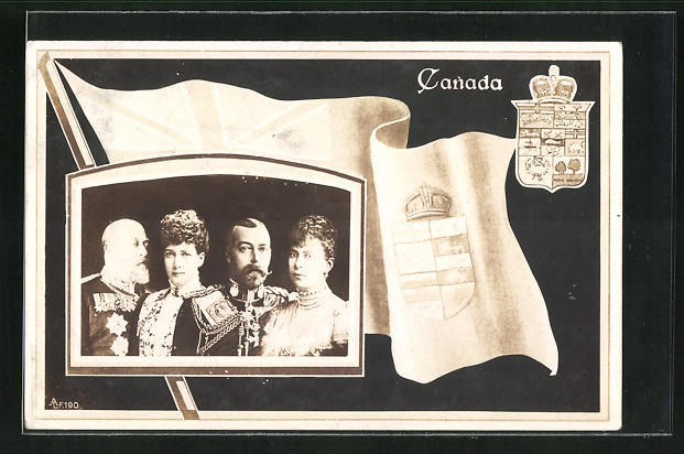 AK König Georg V. von England mit Gemahlin, Flagge und Wappen