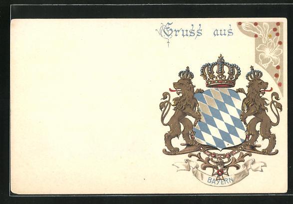 AK Wappen des Königshauses von Bayern