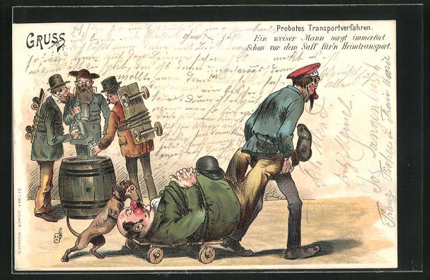 AK Dackel hilft dem Pagen den betrunkenen Mann nach Hause zu bringen