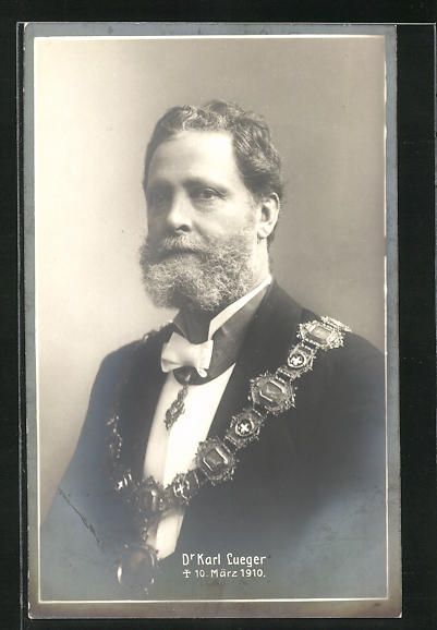 AK Bürgermeister Carl Lueger, Halbportrait mit Stadtkette