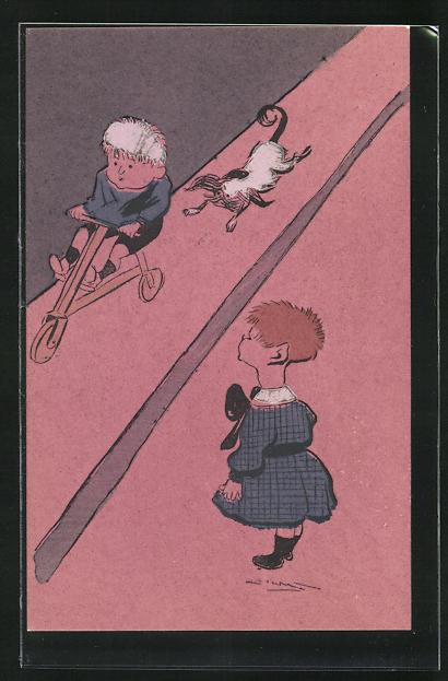 AK Mädchen betrachtet den Jungen mit dem Holzrad, Spielzeug