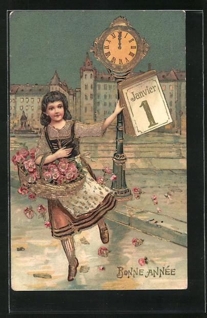 Präge-Lithographie Bonne Année, Janvier 1, Blumenmädchen mit Kalender