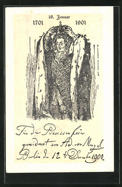 Künstler-AK Ad. von Menzel: 18. Januar 1701 - 1901, Friedrich I.
