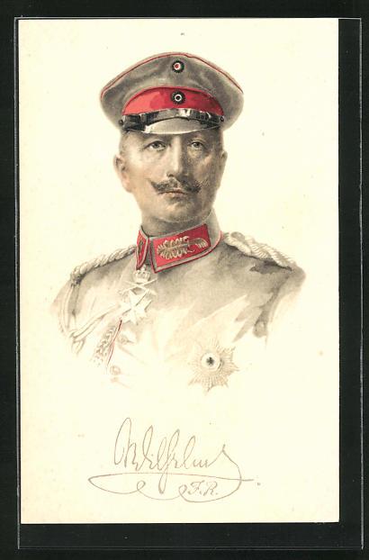 AK Kaiser Wilhelm II., Portrait in Uniform mit Mütze mit rotem Band