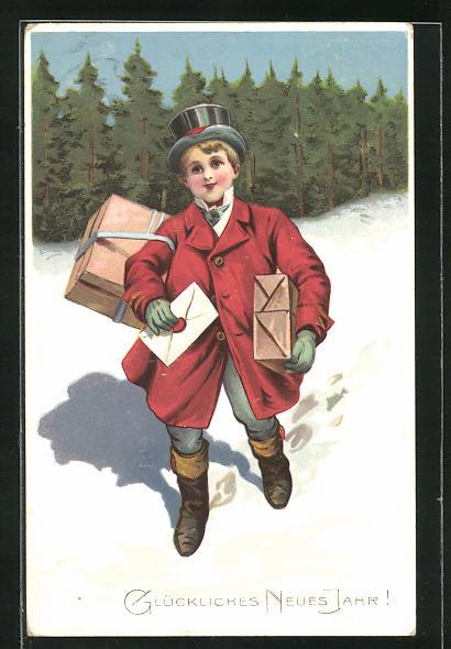 AK Glückliches Neues Jahr!, kleiner Postbote im Schnee