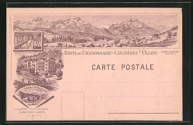 Lithographie Chessieres sur Ollon, Hotel du Chamossaire, Glaciers du Trient