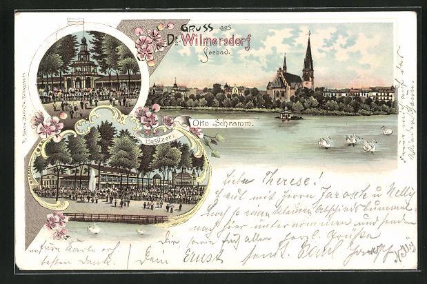 Lithographie Berlin-Wilmersdorf, Gasthaus Seebad von Otto Schramm