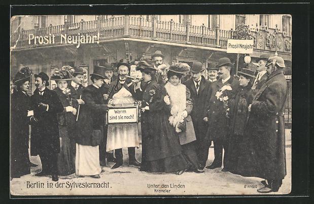 AK Berlin, Cafe Kranzler, Unter den Linden, Feinernde in der Sylvesternacht