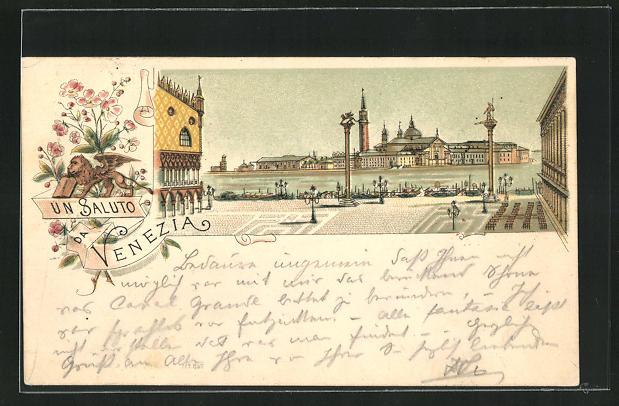 Vorläufer-Lithographie Venezia, 1895, Ausblick vom Markusplatz mit Dogenpalast