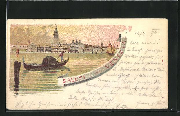 Vorläufer-Lithographie Venezia, 1894, Abendstimmung am Wasser, Gondel vor Stadt-Panorama