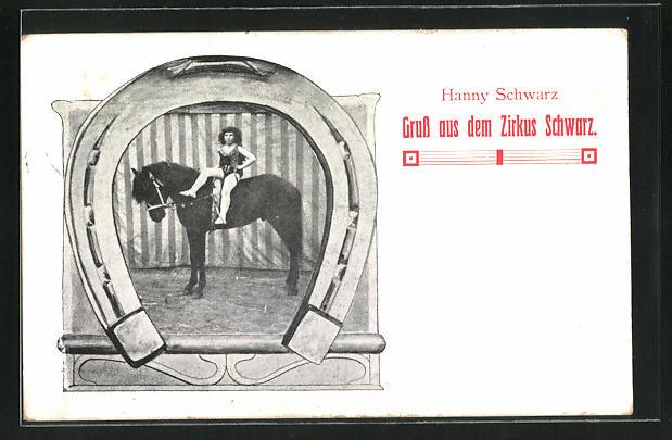 AK Zirkus Schwarz, Hanny Schwarz bei ihrer Pferde-Dressur