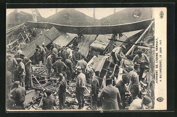 AK Billancourt, Accident de l`Usine Renault 1917, Explosion in der Renault Fabrik