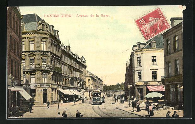 AK Luxembourg, Avenue de la Gare, Strassenbahn