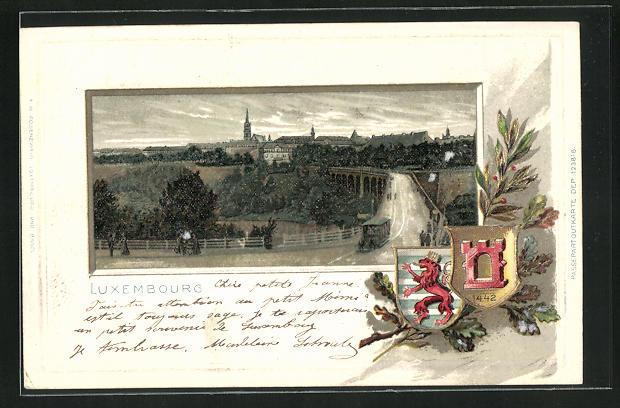 Passepartout-Lithographie Luxembourg, Blick über das Viadukt zur Stadt, Stadt-Wappen