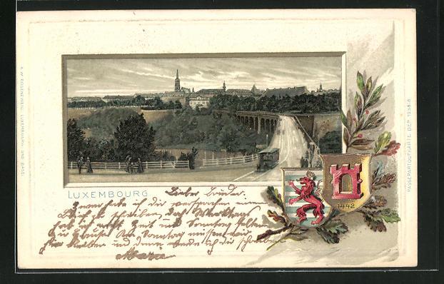 Passepartout-Lithographie Luxembourg, Blick über das Viadukt zur Stadt, Wappen der Stadt