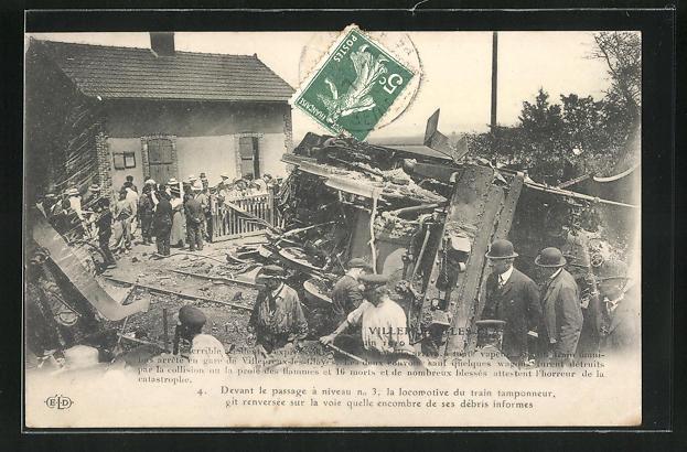 AK Villepreux-les-Clayes, Eisenbahnkatastrophe 1910, Schaulustige