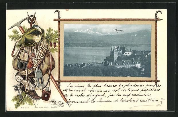 Präge-AK Nyon, Teilansicht mit Schloss, Bergsteigerausrüstung
