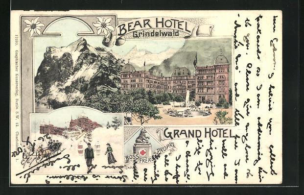 Künstler-AK Grindelwald, Grand Hotel Bear im Sommer und Winter
