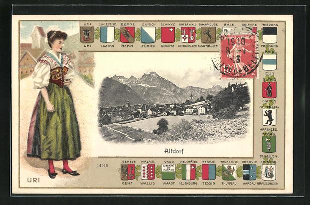 Präge-AK Altdorf / Uri, Ortspartie, Tracht aus Uri, Wappen der Kantone