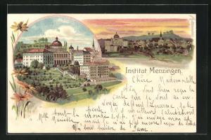 Lithographie Menzingen, Blick zum Institut, Ortsansicht im Abendlicht