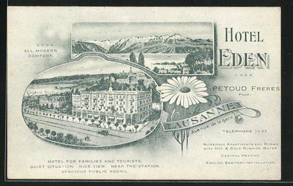 AK Lausanne, Hotel Eden, Avenue de la Gare 0