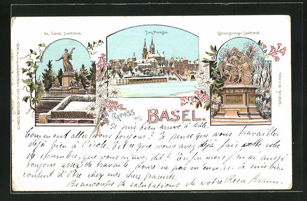 Winter-Lithographie Basel, Münster im Schnee, Strassburger Denkmal, St. Jakob Denkmal