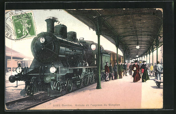 AK Geneve, Arrivée de l`express du Simplon, Simplon-Express am Bahnhof
