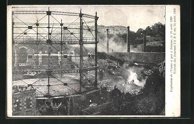 AK Geneve, Explosion de l`Usine à gaz 1909, Explosion Gasfabrik 1909
