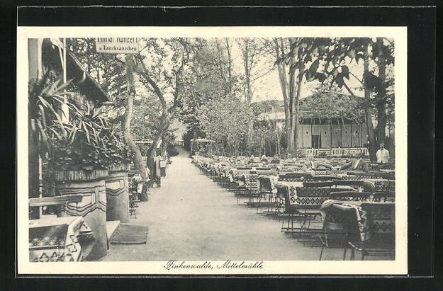 AK Finkenwalde, Gasthaus Mittelmühle, Gartenwirtschaft