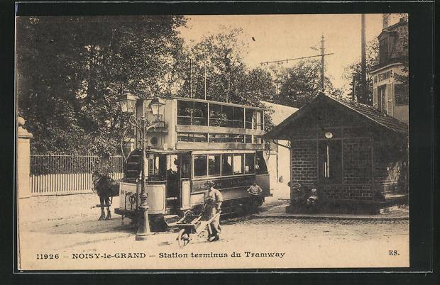 AK Noisy-le-Grand, Station terminus du Tramway, Doppeldecker-Strassenbahn