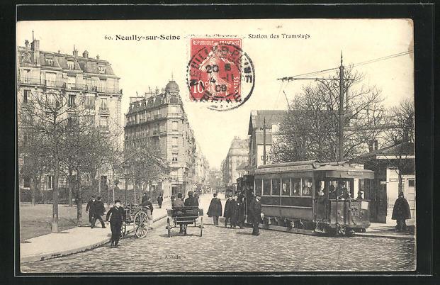 AK Neuilly-sur-Seine, Station des Tramways, Strassenbahn