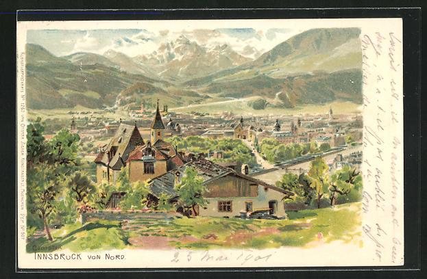 Künstler-AK Edward Theodore Compton: Innsbruck, Blick von Norden auf die Stadt