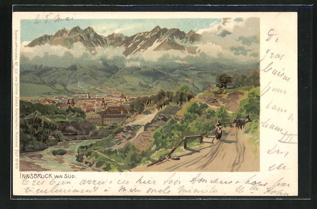 Künstler-AK Edward Theodore Compton: Innsbruck, Blick von Süden auf die Stadt
