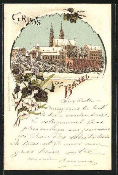 Winter-Lithographie Basel, Teilansicht der Stadt mit Münstertürmen