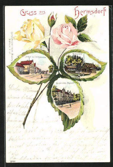 Passepartout-Lithographie Berlin-Hermsdorf, Schule u. Dorfstrasse, Kaiserl. Postamt, Kuhstall, Ansicht auf Rosenblatt